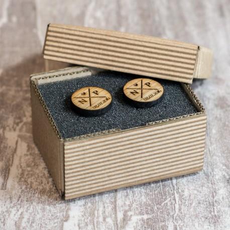 Spinki ślubne, personalizowane inicjały i data