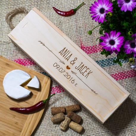 Skrzynka na wino - Imiona i data ślubu