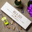 Drewniana skrzynka na alkohol - Imiona i data ślubu