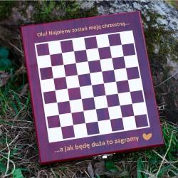 Zestaw do wina z szachami dla chrzestnej