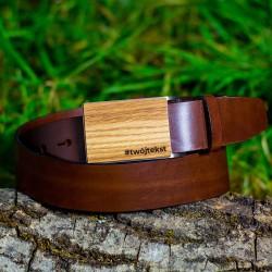 Pasek do spodni brązowy, klamra drewno - Dąb