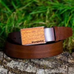 Pasek do spodni brązowy, klamra drewno - Meranti
