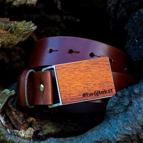Pasek do spodni brązowy, drewniana klamra - Meranti
