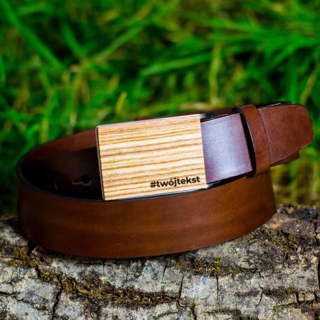 Pasek do spodni brązowy, drewniana klamra - Jesion polski