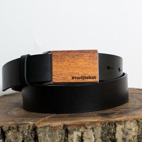 Pasek do spodni czarny, drewniana klamra - Meranti