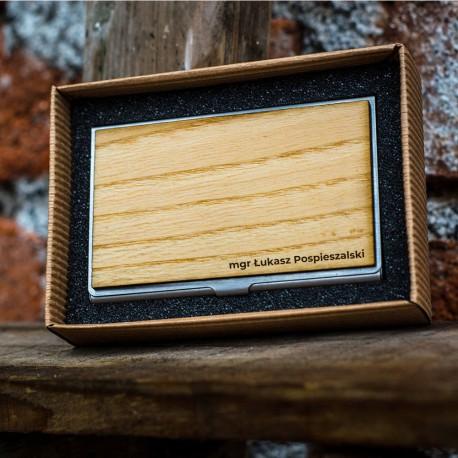 Wizytownik z drewnianym elementem - Jesion Polski