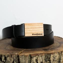 Pasek do spodni czarny, klamra drewno - Jesion polski