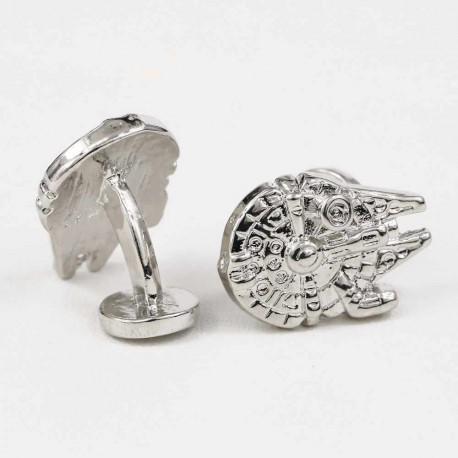 Spinki do mankietów Millennium Falcon, Sokół Millenium, Star Wars - srebrny kolor, połysk