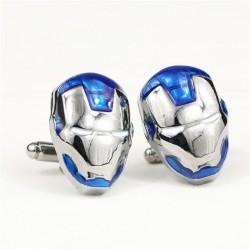 Spinki do mankietów Iron Man - srebrny kolor, niebieskie elementy