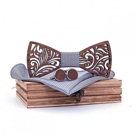 Muszka drewniana, poszetka i spinki - zestaw, kolor szary
