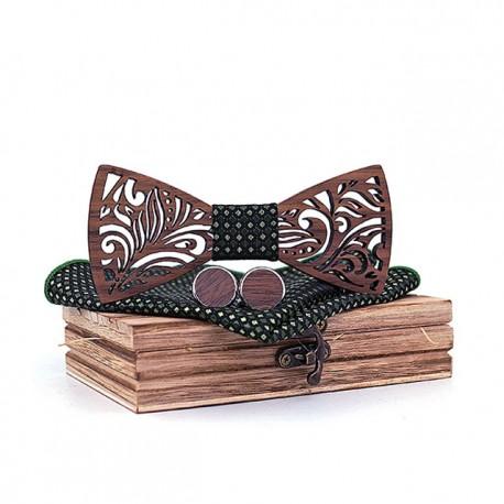 Muszka drewniana, poszetka i spinki - zestaw, kolor zielony