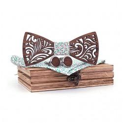 Muszka drewniana, poszetka i spinki - zestaw, kwiecisty wzór
