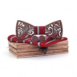 Muszka drewniana, poszetka i spinki - zestaw, kolor czerwony
