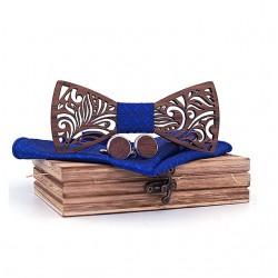 Muszka drewniana, poszetka i spinki - zestaw, kolor granatowy