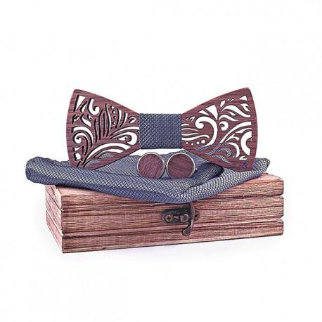 Muszka drewniana, poszetka i spinki - zestaw, kolor grafitowy