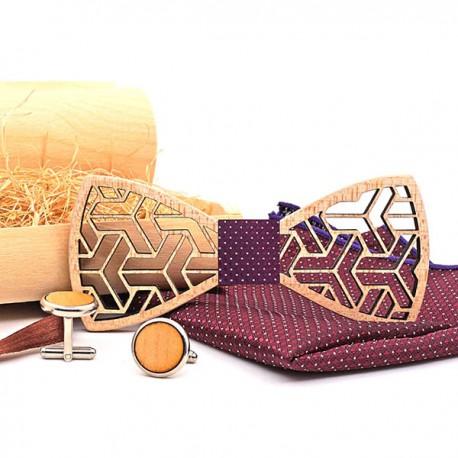 Muszka drewniana, poszetka i spinki - zestaw, kolor bordowy