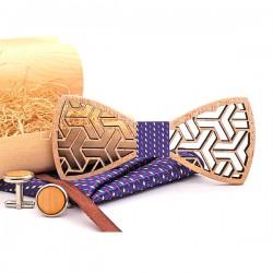 Muszka drewniana, poszetka i spinki - zestaw, kolor fioletowy