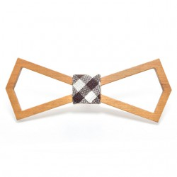 Muszka drewniana - ramka, kratka brązowo - biała