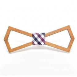 Muszka drewniana - ramka, kratka fioletowo - niebieska