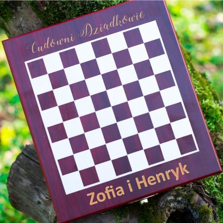 Zestaw do wina z szachami dla cudownych Dziadków